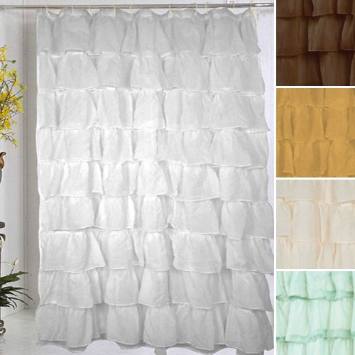 Awesome Ruffled Shower Curtains   In Aqua For Backdrop   $19.99
