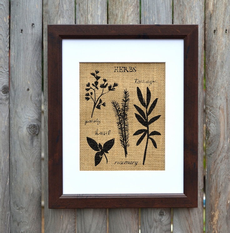 Kitchen Wall Art Herbs Burlap Themed Frame Is Included