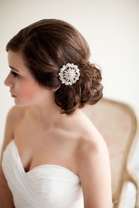 Rhinestone Bridal Comb, Brooch Bridal Comb, Jeweled Bridal Comb - Stella MADE TO ORDER via Etsy