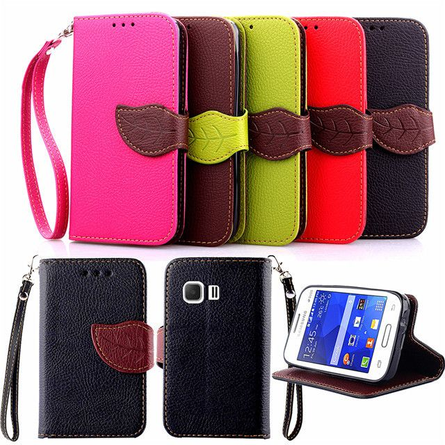 Leaf Design Luxury PU Leather Cell Phone Cover Flip Cases For Samsung GALAXY Young 2 G130 G130H with Wallet & Lanyard