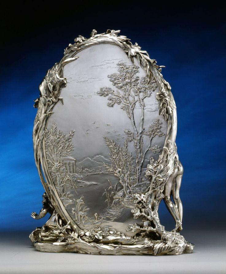 """AN ART NOUVEAU TOILET MIRROR ENTITLED """"LA MÉTAMORPHOSE DE NARCISSE"""" BY CHRISTOFLE À PARIS AFTER A MODEL BY RENÉ ROZET, PARIS, DATE CIRCA 1900 Christofle René Rozet Fully hallmarked Solid silver and green marble Height 77 cm. (2 of 2)"""