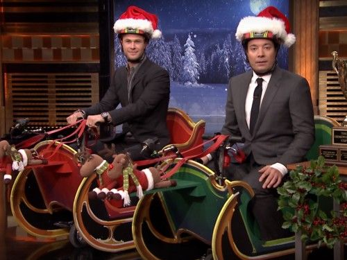 Chris Hemsworth and Jimmy Fallon's sleigh scooter race will put you in the competitive holiday spirit