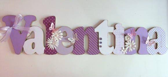 Nome em MDF, decorado em papel de scrap. Pode ser utilizado para decorar quarto, porta de maternidade e festa infantil. Fazemos nas cores desejadas R$ 100,00