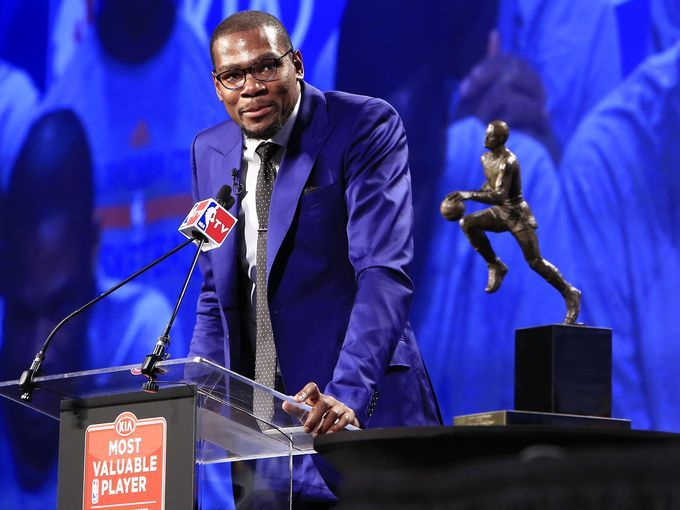 2013-2014 NBA MVP: Thunder forward Kevin Durant was emotional after winning the award nearly unanimously.