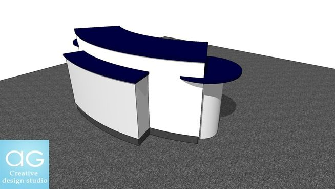 Large preview of 3D Model of Curve Display Counter Concept- Retail Design #1