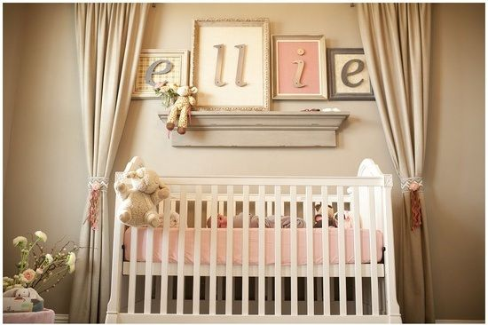 beautiful baby room. Love the curtains framing the crib.