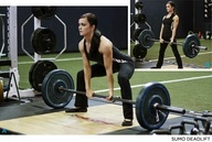 A sumo deadlift resembles a regular deadlift, except your feet are wide and turned out, and your hands grasp the barbell in a close grip. Sumo deadlifts are great for women because they require more leg strength than back strength. Low hips and wide legs, plus a low center of gravity, make sumo deadlifts an excellent hip, glute, and leg workout.