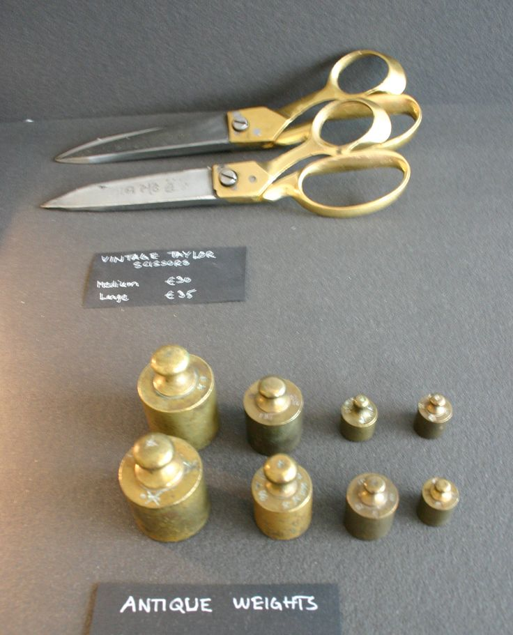 Vintage tailor scissors and weights