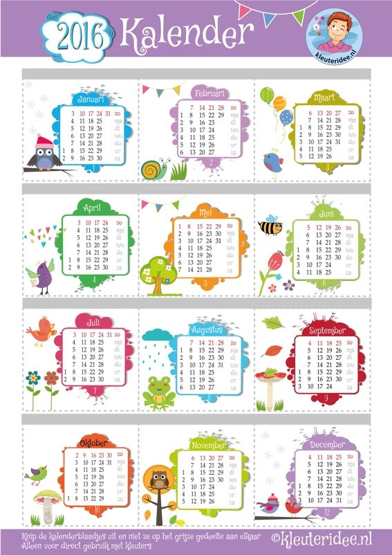 Vrolijke kleuterkalender voor 2016, de kleuters knippen de maandpagina's uit en deze worden aan elkaar geniet, printen op A3, kleuteridee.nl, free printable.