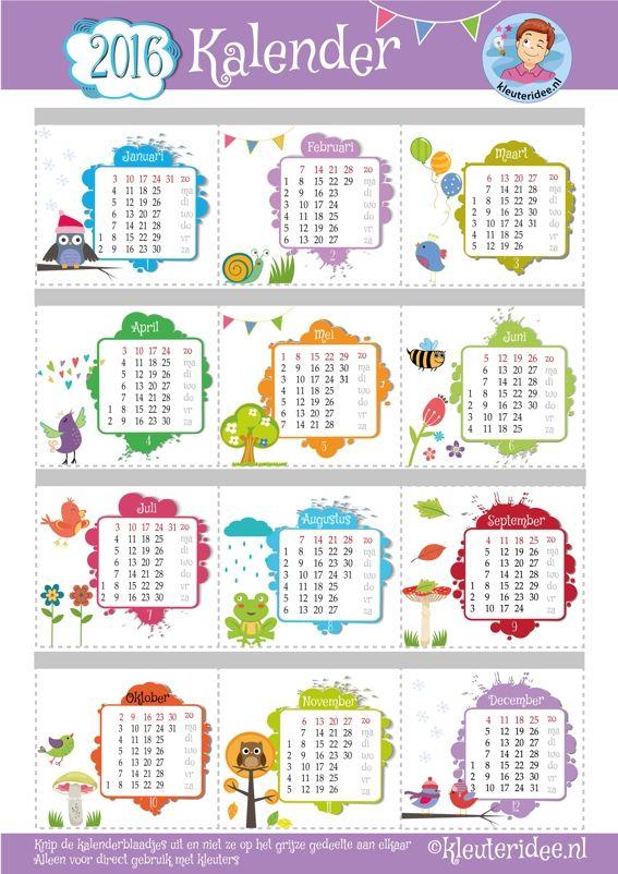 Vrolijke kleuterkalender voor 2016, de kleuters knippen de maandpagina's uit en deze worden aan elkaar geniet, printen op A3, kleuteridee, free printable.