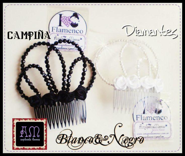 """CONTRASTES! Blanco&Negro. Peinetones modelo """"Campiña"""" (N) y """"Diamantes"""" (B). Un objeto de lujo para embellecer nuestros peinados flamencos! MODELOS EXCUSIVOS! realizados artesanalmente del color que quieras!  AmapolasMoras - Complementos Flamencos"""