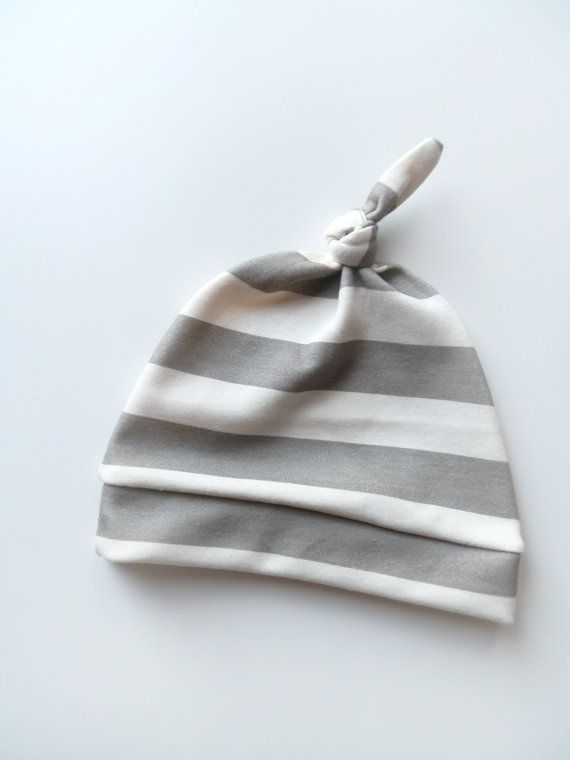 Newborn Hat, Neutral Thick Gray Stripe, Organic Knotted Beanie by Little Hip Squeaks. $18.65, via Etsy.