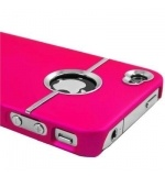 Hot Pink Deluxe W/chrome Rubberized Snap-on Hard Back Cover Case for AT Apple Iphone 4 4g