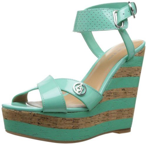 Armani Jeans Women's VW595566R Wedge Sandal,Verde Acqua,35 EU/5 M US