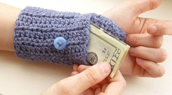 Handsfree Wallet   Crochet Wristlet Arm Purse by threemagicsheep, $15.00...what a great idea!!!