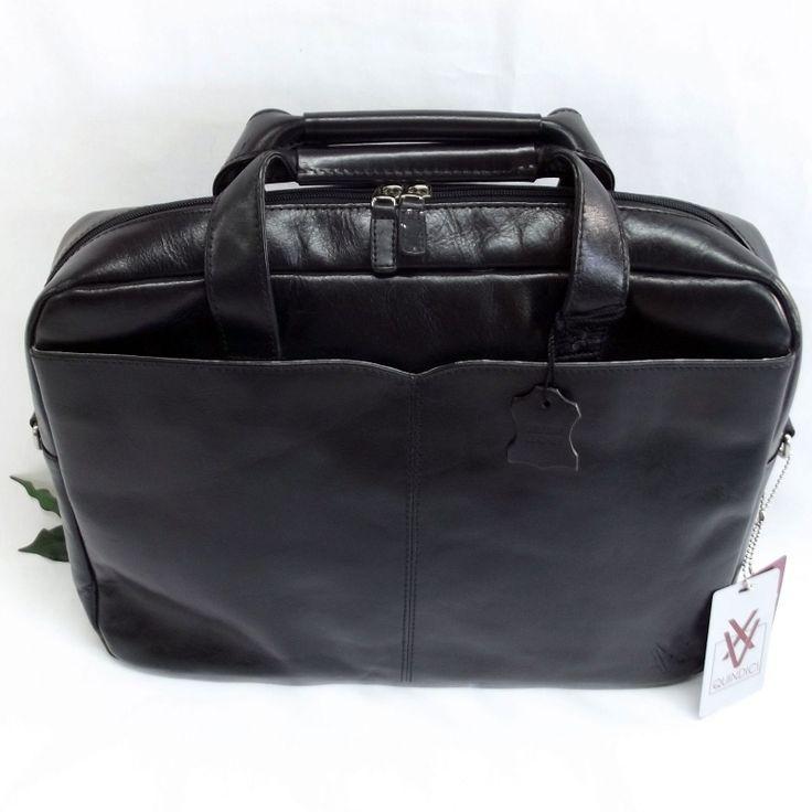 Quindici Leather 1 Compartment Laptop Briefcase Bag Black or Brown Veg Tan QVB…