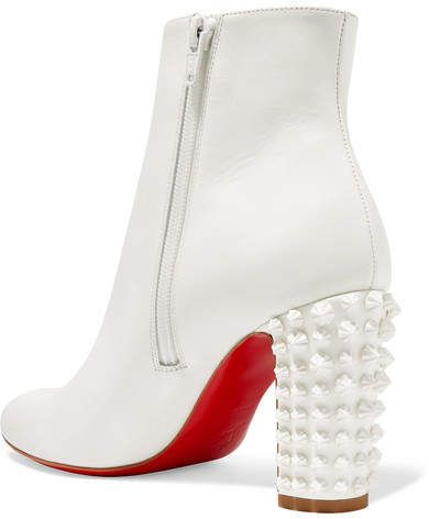 1035617cfeb Christian Louboutin Suzi Folk 85 Spiked Leather Ankle Boots - White ...
