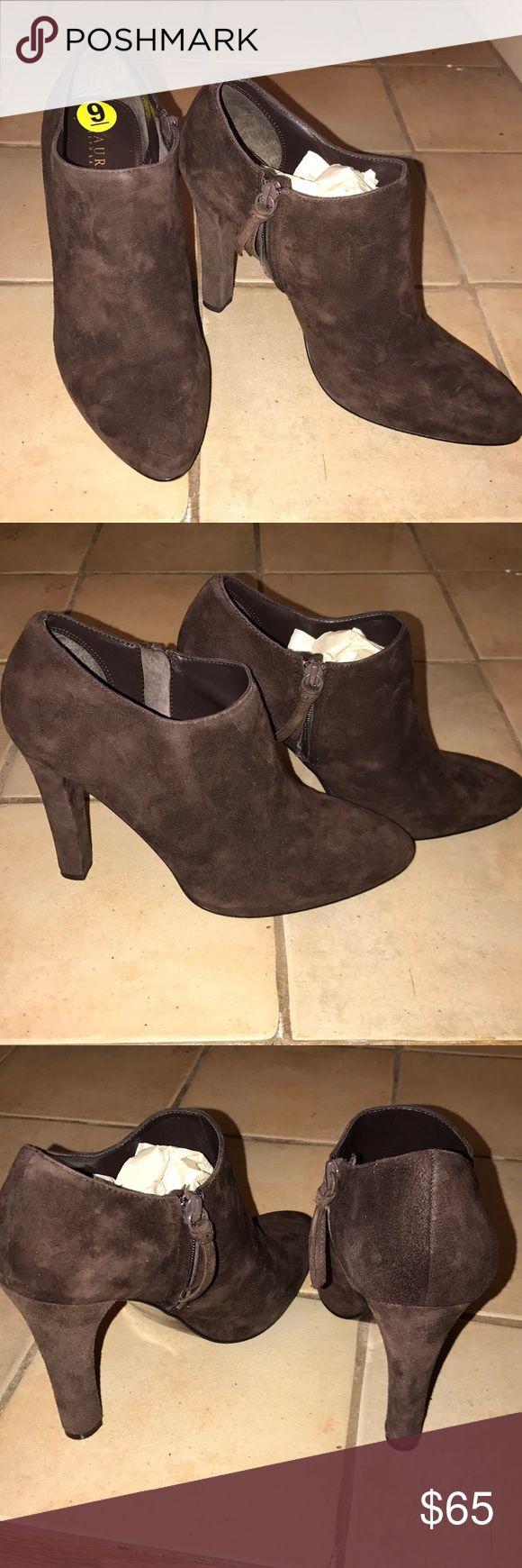 Lauren Ralph Lauren suede heel booties Brand new never worn suede Ralph Lauren heel booties size 9 Lauren Ralph Lauren Shoes Heeled Boots