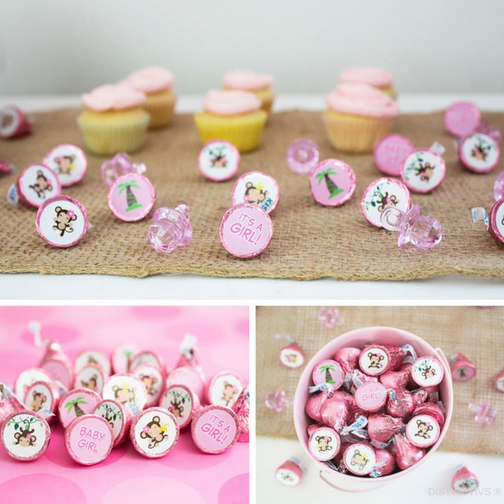 Precious Pink Monkey Baby Girl Shower Stickers.
