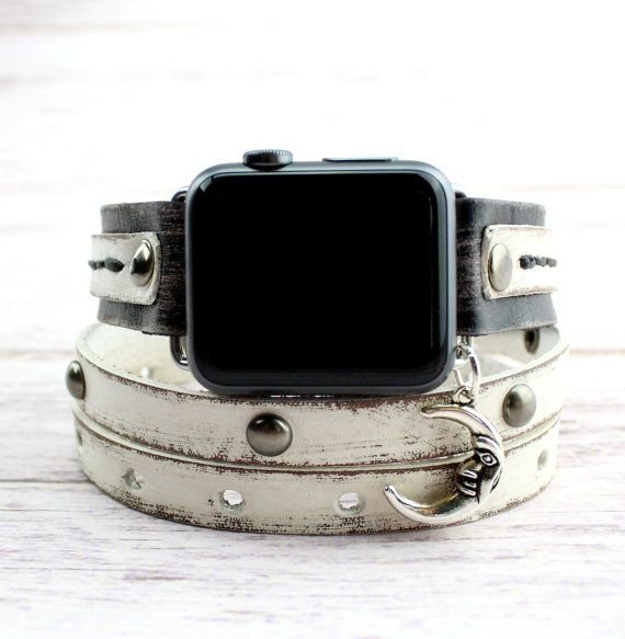 Black and White Apple Watch Band with Moon by CuckooNestArtStudio