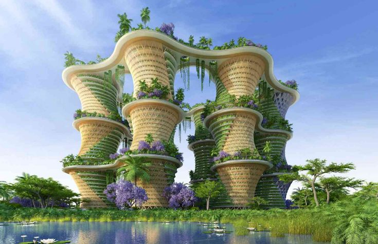 A new six-tower mixed-use project from Vincent Callebaut Architectures would incorporate community orchards, food gardens, and phytopurification lagoons in an attempt to build a sustainable and eco-friendly community. Named Hyperions after the world's tallest tree (a Northern California Sequoia sempervirens that's specific location is kept secret), the New Delhi-located project would be built out of cross-laminated timber (CLT) before being covered with food-producing gardens.