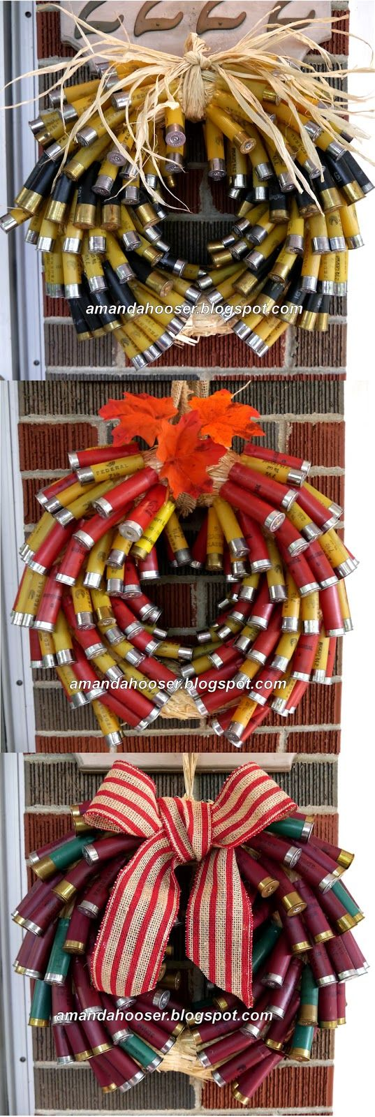 "The Shotgun Shell Wreath                 Wreath #1     What you will need:     * 12"" straw wreath form                                   * ..."