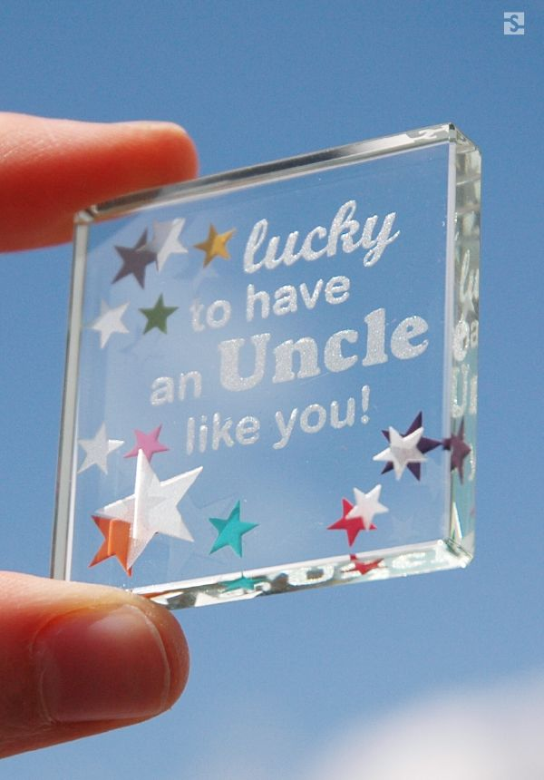 """""""Lucky to have an Uncle like you"""" Colourful stars, Glass gift by Spaceform."""