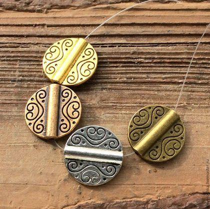 Для украшений ручной работы. Ярмарка Мастеров - ручная работа. Купить Бусины 19 мм - 4 цвета фигурные металл для украшений. Handmade.