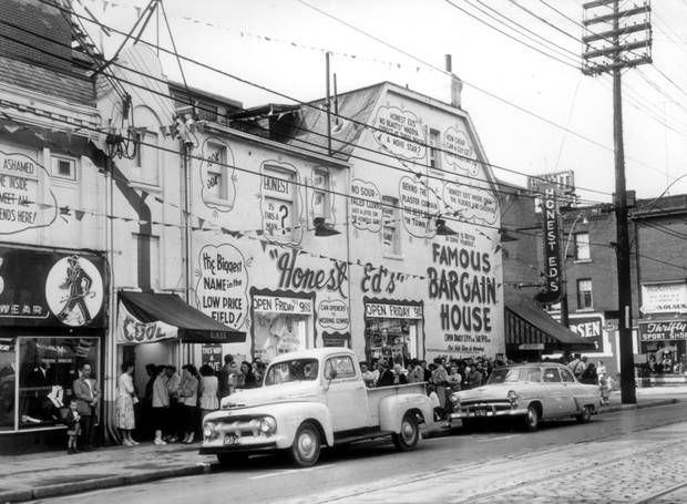 Honest Ed's original store, Bloor and Markham, Toronto. 1957. (Allan Moffatt For The Globe and Mail)
