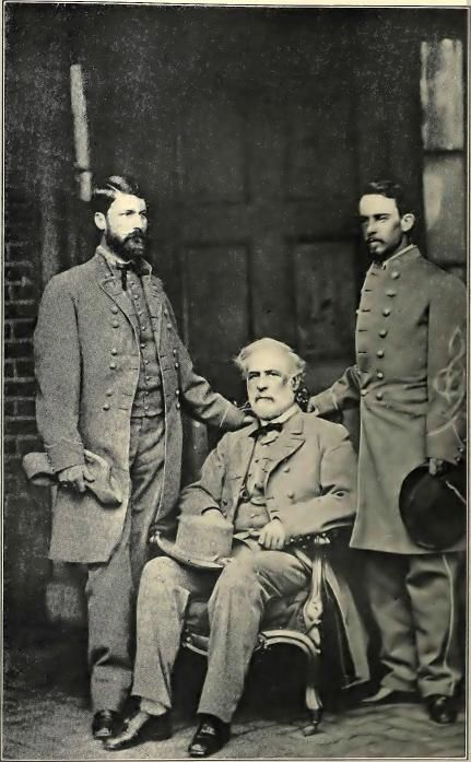 General Lee He has just arrived in Richmond from Appomattox, where he had signed the surrender terms, and is seated in the basement of his Franklin Street residence between his son, Major-General G. W. C. Lee, and his aide, Colonel Walter Taylor.