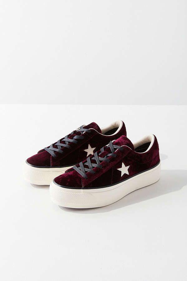 4b8f667d940d4d Converse One Star Velvet Platform Low Top Sneaker