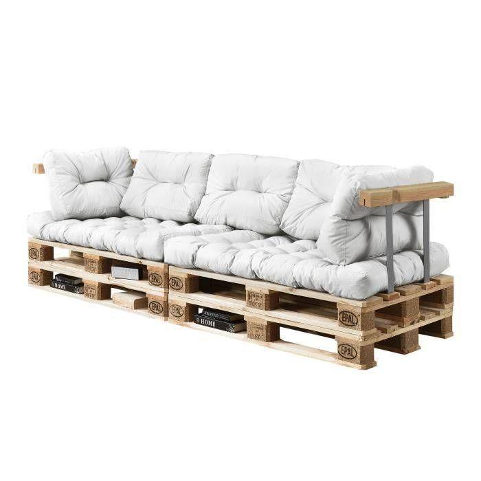 Rembourrage Coussin Canape Canape D Angle En Palettes Coussin Blanc 3 Places Avec Rembourrage Coussin Cana In 2020 With Images Pallet Patio Furniture Diy Pallet Sofa Pallet Lounge