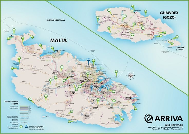 Malta bus route map