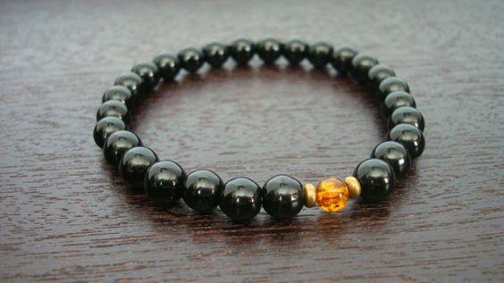 Men's Onyx & Baltic Amber Mala Bracelet - Black Onyx and Genuine Baltic Amber Bracelet - Yoga, Buddhist, Meditation, Prayer Beads, Jewelry