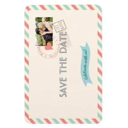 #Vintage Airmail Wedding Save the Date with photo Magnet - #WeddingMagnets #Wedding #Magnets Wedding Magnets