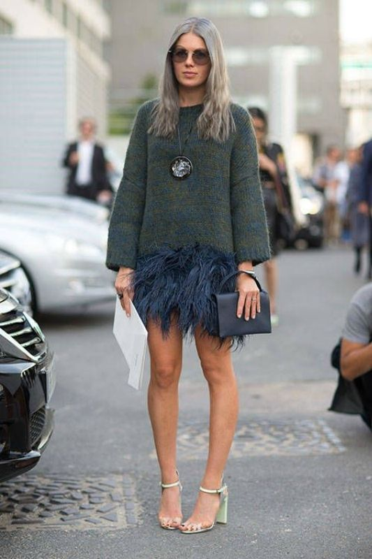 sweater and feathers