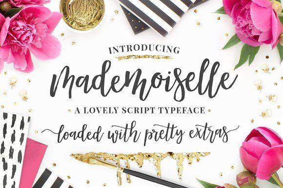 Mademoiselle Script + EXTRAS! by Pink Coffie on @creativemarket