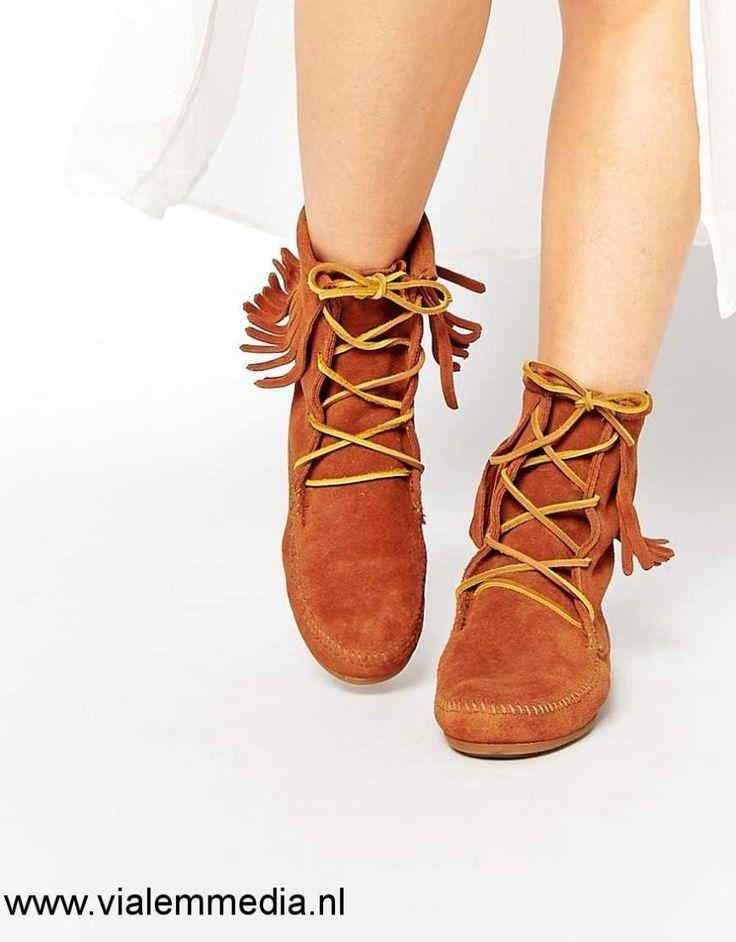 Dames - Minnetonka Brown - Bruin Suede Tramper Boots/Laarzen - Brown - Bruin Suede| Women Minnetonka Schoenen Maat:36,37,38,39,40,41,42,43,44,45