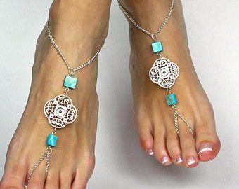 Tribal argent et turquoises enchaînés sandales pieds nus pied cheville pied Thong Gypsy sandales pieds nus bijoux