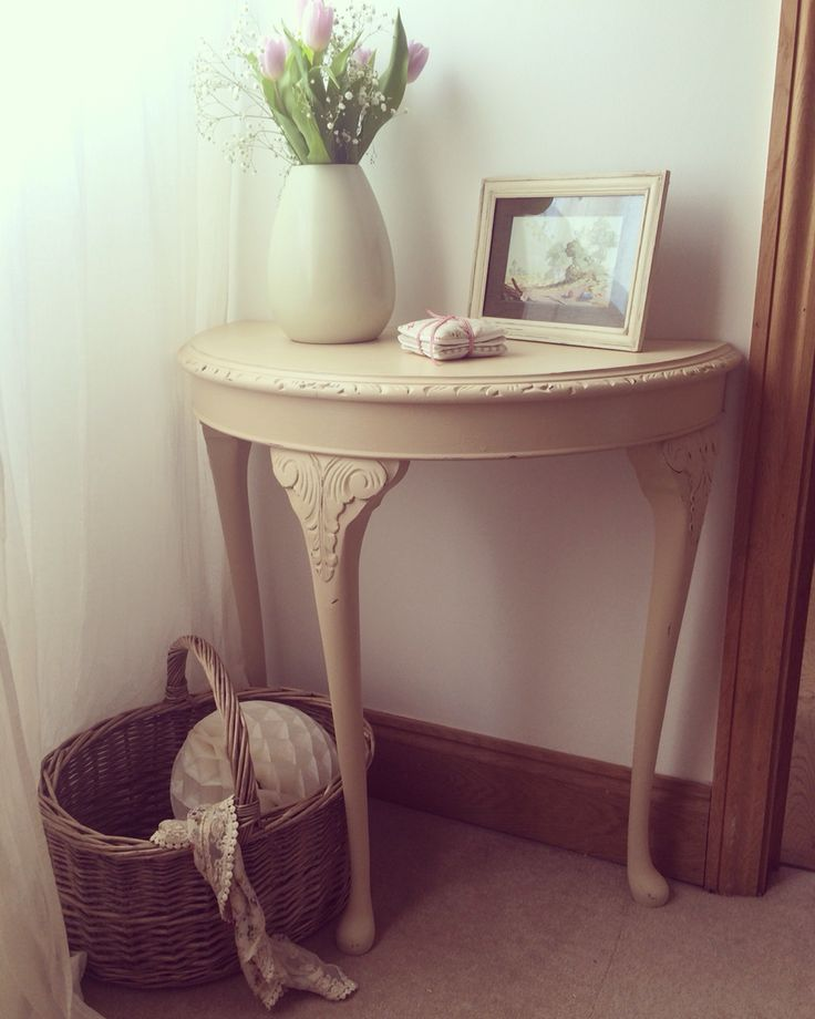 x For Sale x A Demi Lune table with beautiful carved detail painted with Old Ochre. Now for sale. Price: £84. x