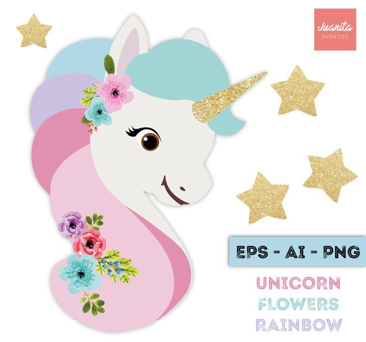 clipart unicornio con cuerno dorado y flores acuarela