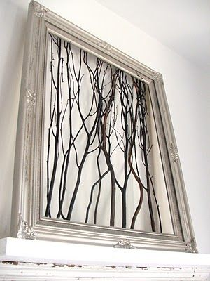 Twigs in a frame. Would be great with white twigs and a colored background