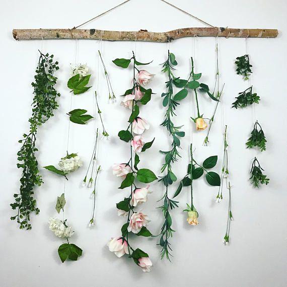 Flower Wall Hanging Vine Wall Hanging Boho Wall Hanging
