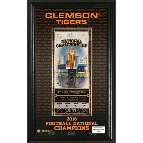 Clemson Tigers Highland Mint College Football Playoff 2016 National Champions Single Ticket Frame - $49.99