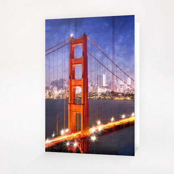 City Art Golden Gate Bridge Composing Greeting Card & Postcard by Melanie Viola