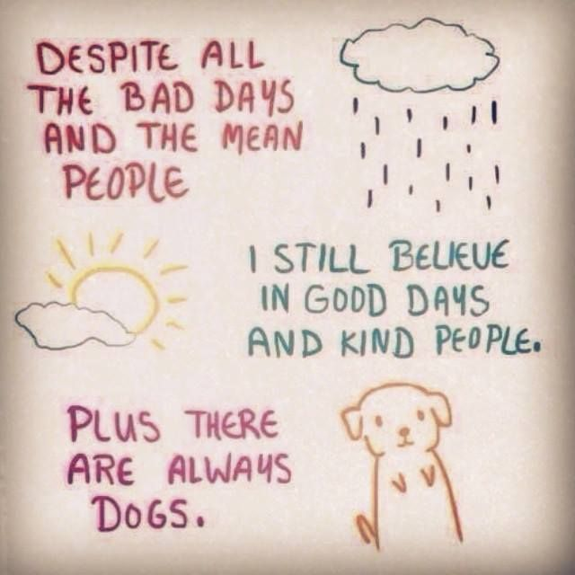 Despite all the bad days and the mean people I still believe in good days and kind people.  Plus there are always dogs.