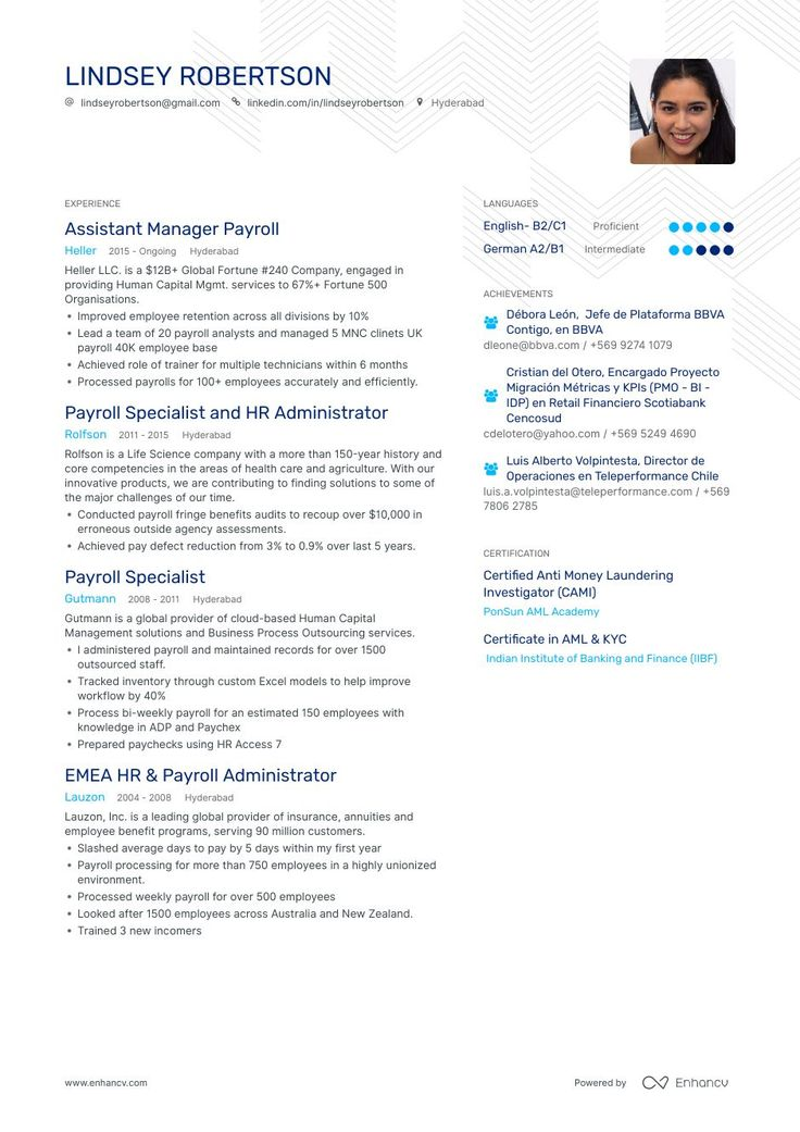 The ultimate 2019 guide for Payroll resume examples. 200