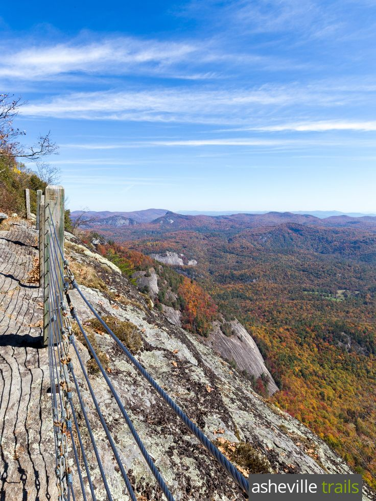 Catch beautiful panoramic views on the Whiteside Mountain Trail near Highlands, North Carolina
