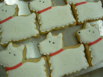 Westie cookies.  We might find a bakery who could ship these to smitten Westie lovers around the country.  If you run into a bakery that will provide these, please share that info.