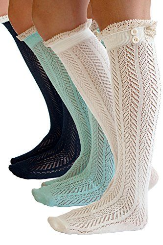 The Original Button Boot Socks with Lace Trim Boutique Socks by Modern Boho >>> Check out this great product.
